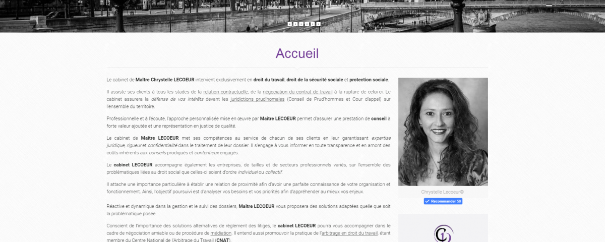 Screenshot site lecoeur-avocat.fr